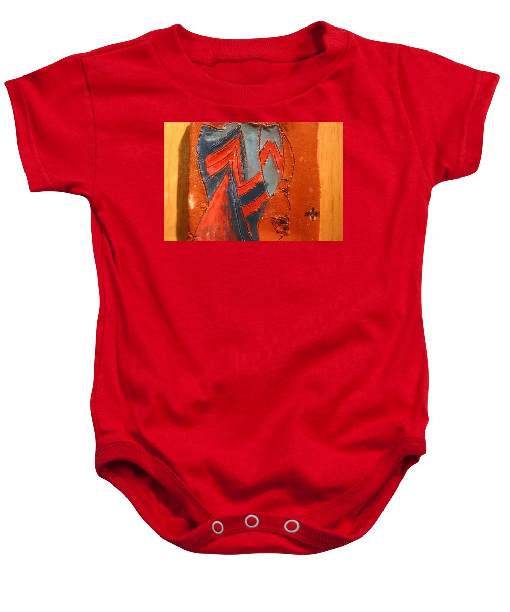 Jesus Baby Onesie featuring the ceramic art Lead Me Home - Tile by Gloria Ssali
