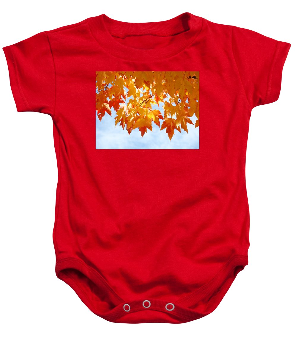 Autumn Baby Onesie featuring the photograph LEAVES Nature Art Orange Autumn Tree Leaves by Patti Baslee