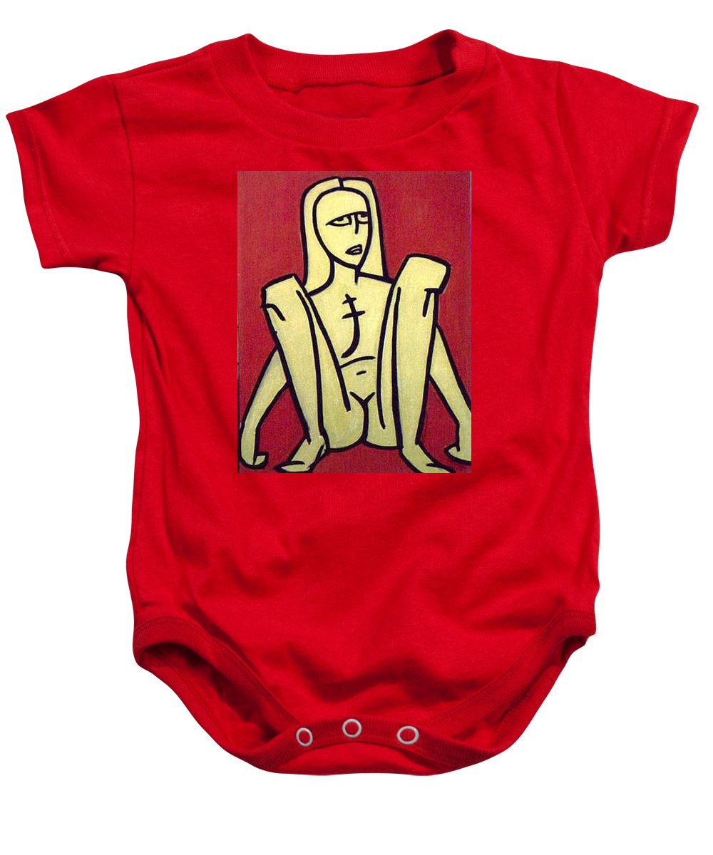 Nude Baby Onesie featuring the painting Legs by Thomas Valentine