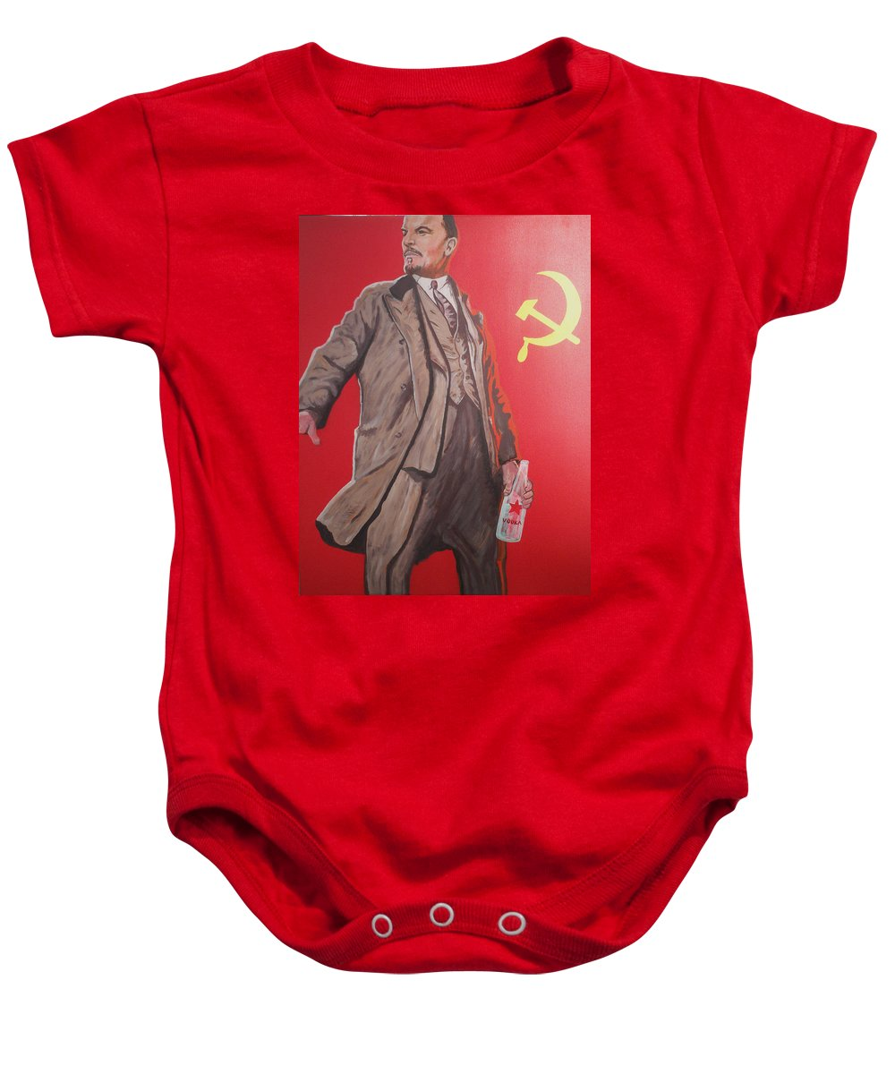 Lenin Baby Onesie featuring the painting Lenin Gets Bolshi After A Bevi by Gary Hogben