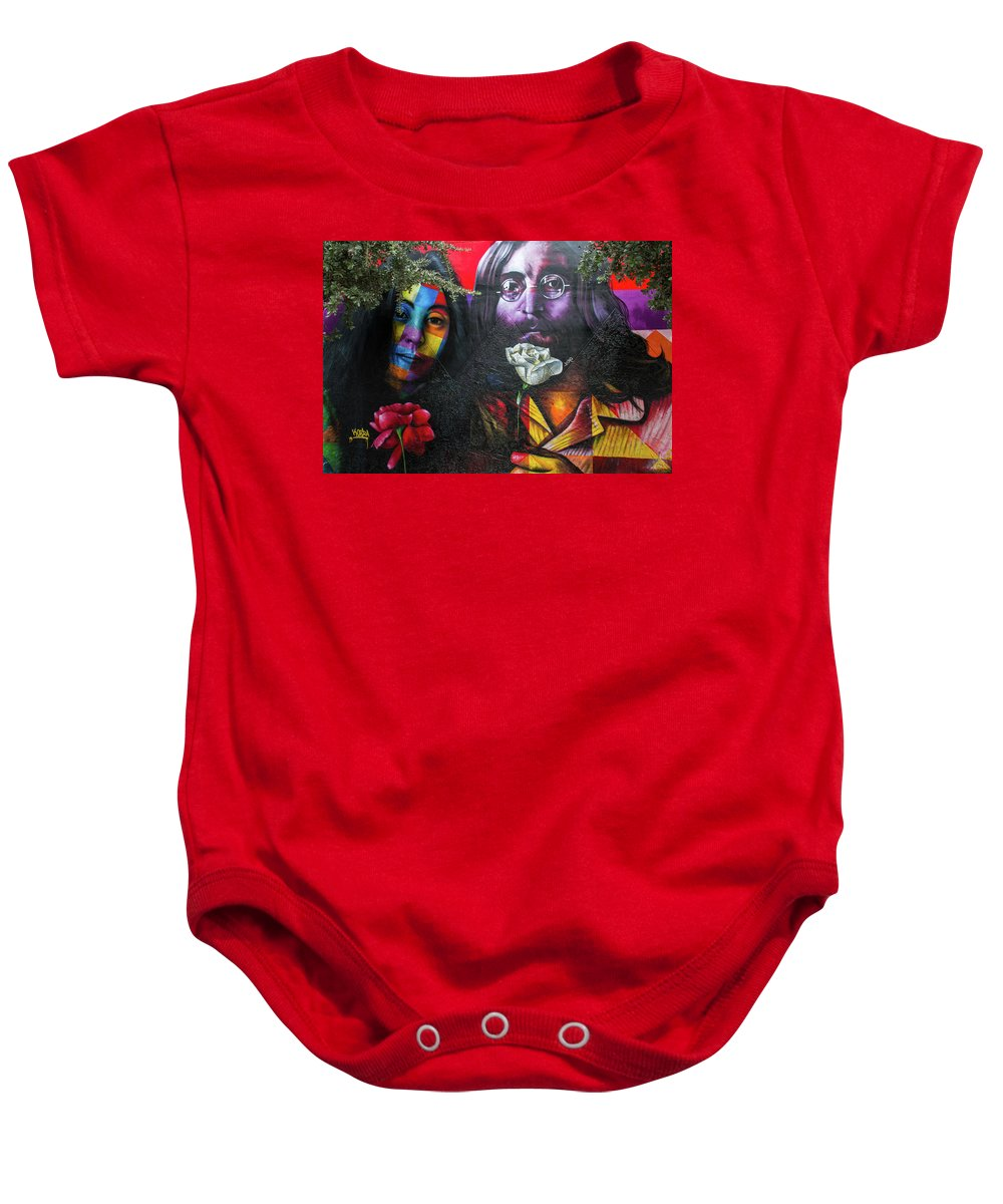 Graffiti Baby Onesie featuring the photograph Lennon And Ono by Mike Burgquist