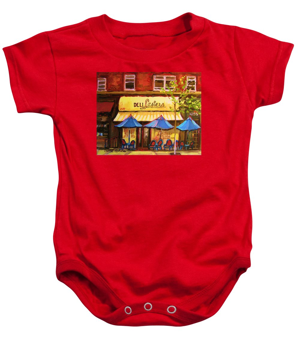 Lesters Deli Baby Onesie featuring the painting Lesters Cafe by Carole Spandau