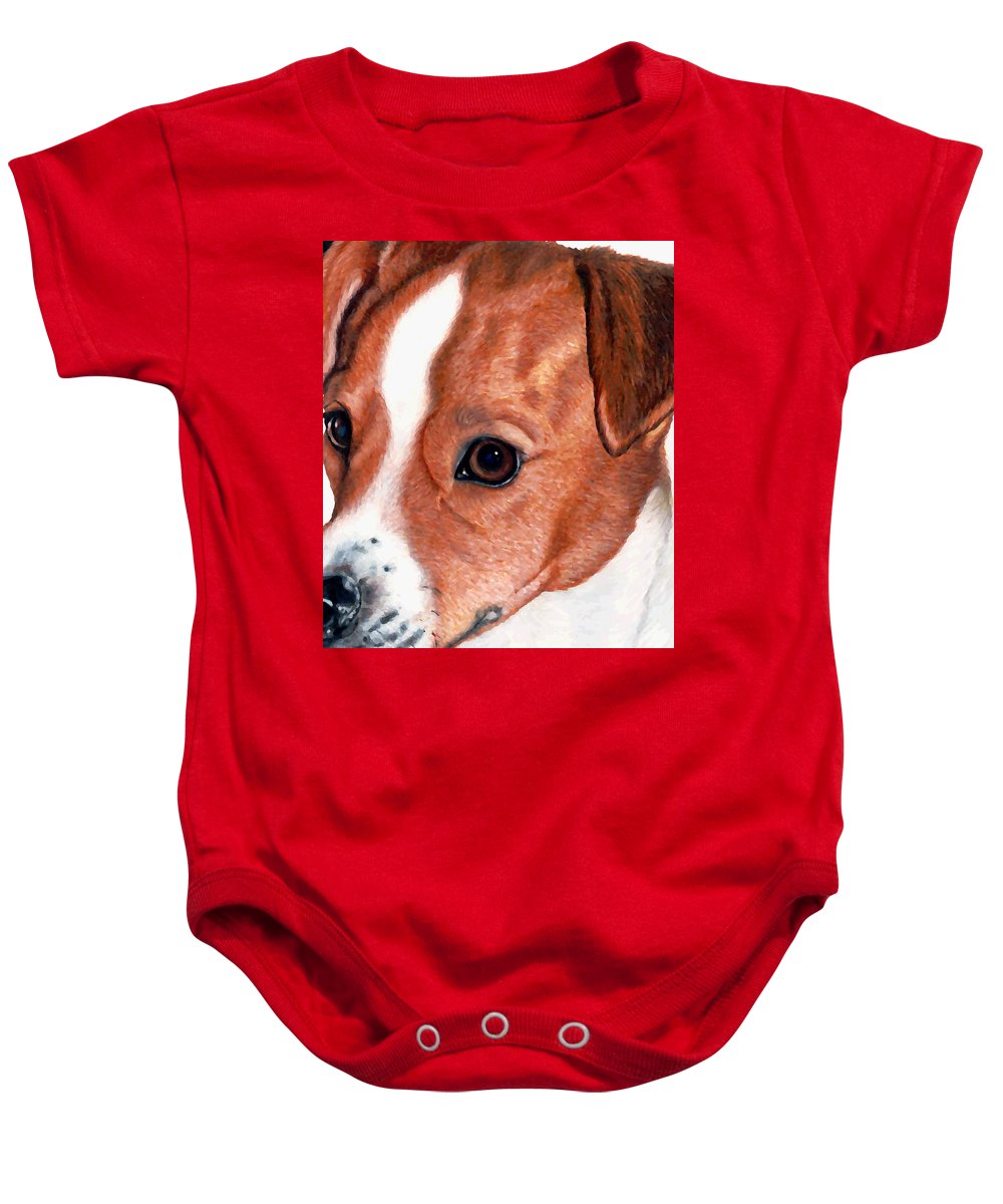 Jack Russell Terrier Baby Onesie featuring the drawing Lewie by Kristen Wesch