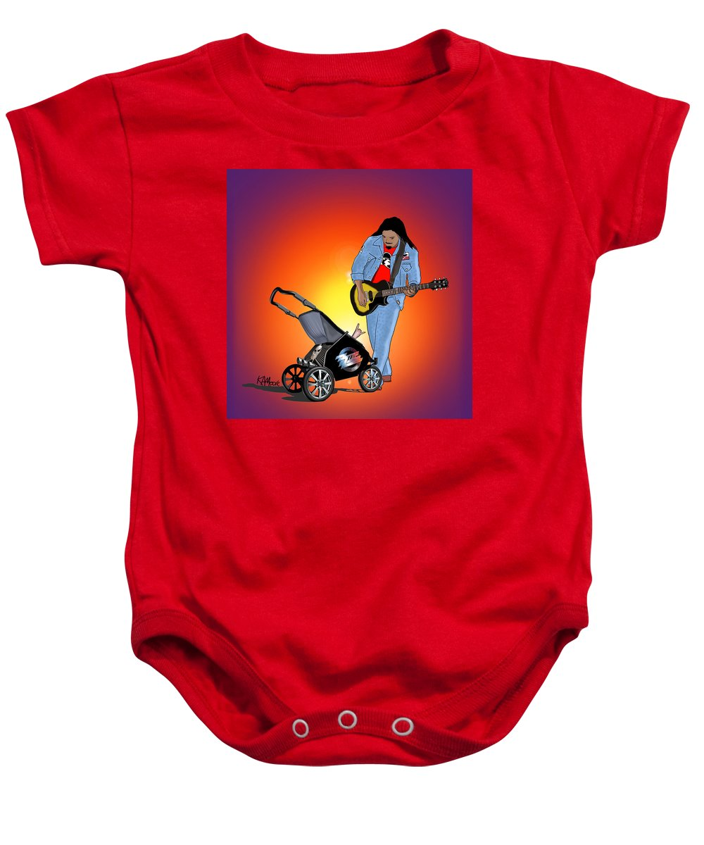 Rock Baby Onesie featuring the drawing Like Father Like Son by Kev Moore