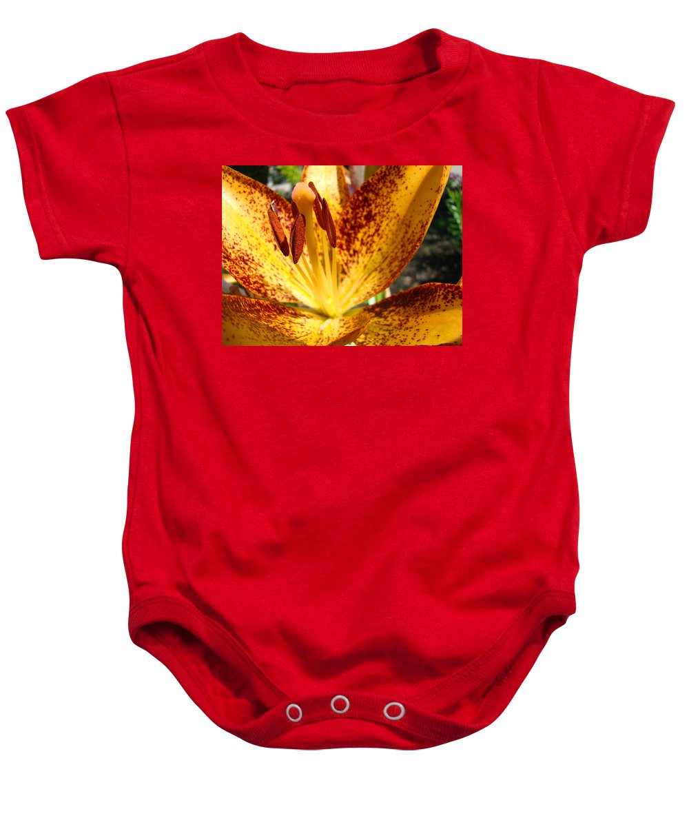 Lilies Baby Onesie featuring the photograph Lilies Glowing Orange Lily Flower Floral Art Print Canvas Baslee Troutman by Baslee Troutman