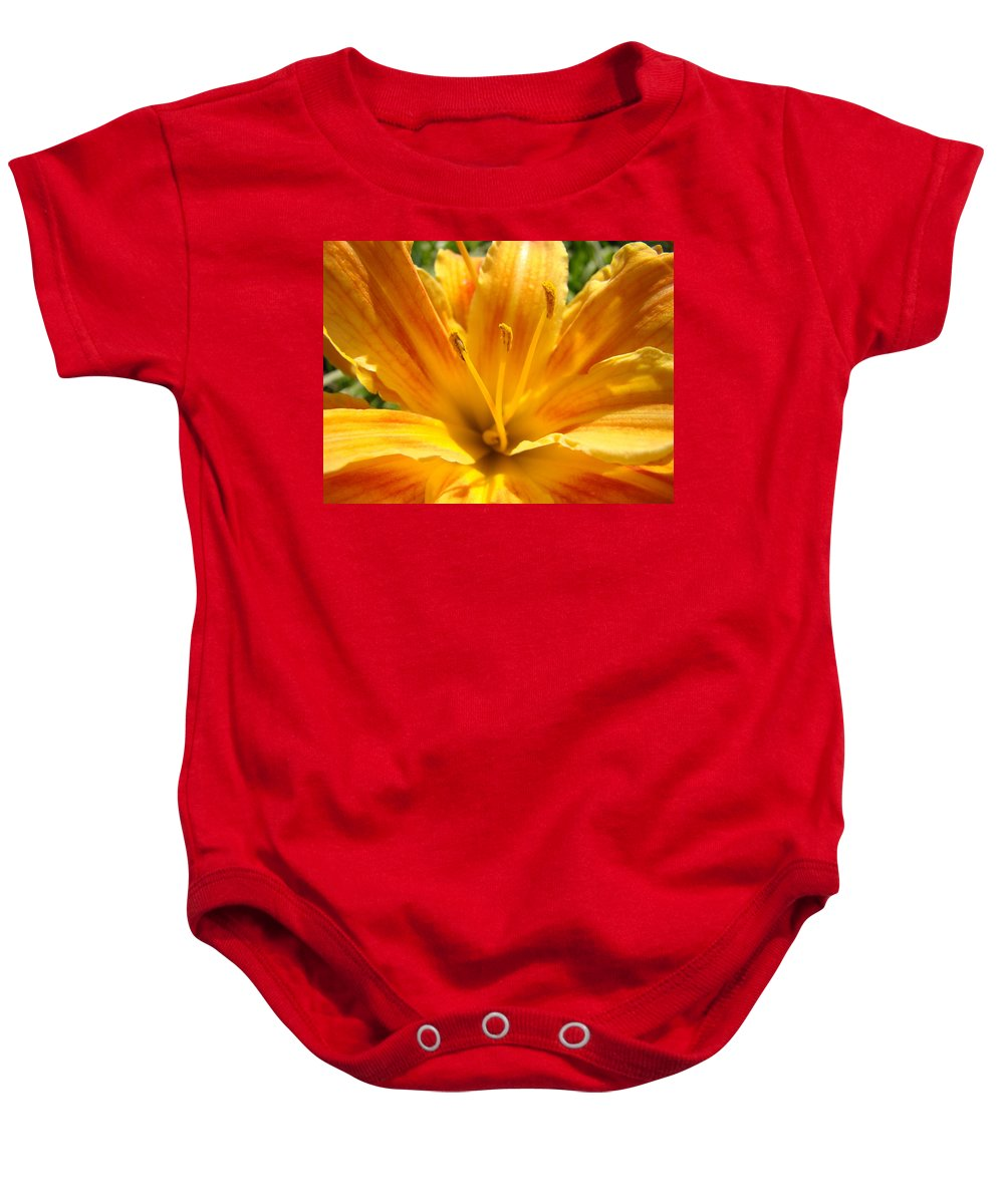Lilies Baby Onesie featuring the photograph Lilies Orange Yellow Lily Flower 1 Giclee Art Prints Baslee Troutman by Baslee Troutman