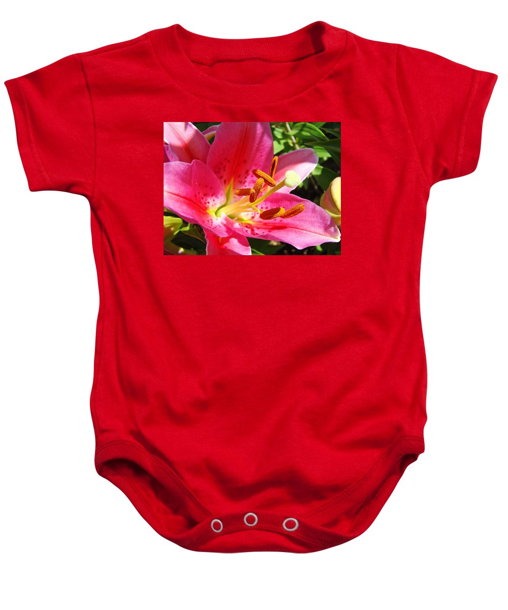 Lilies Baby Onesie featuring the photograph Lily Flower Pink Lilies Giclee Art Prints Baslee Troutman by Baslee Troutman