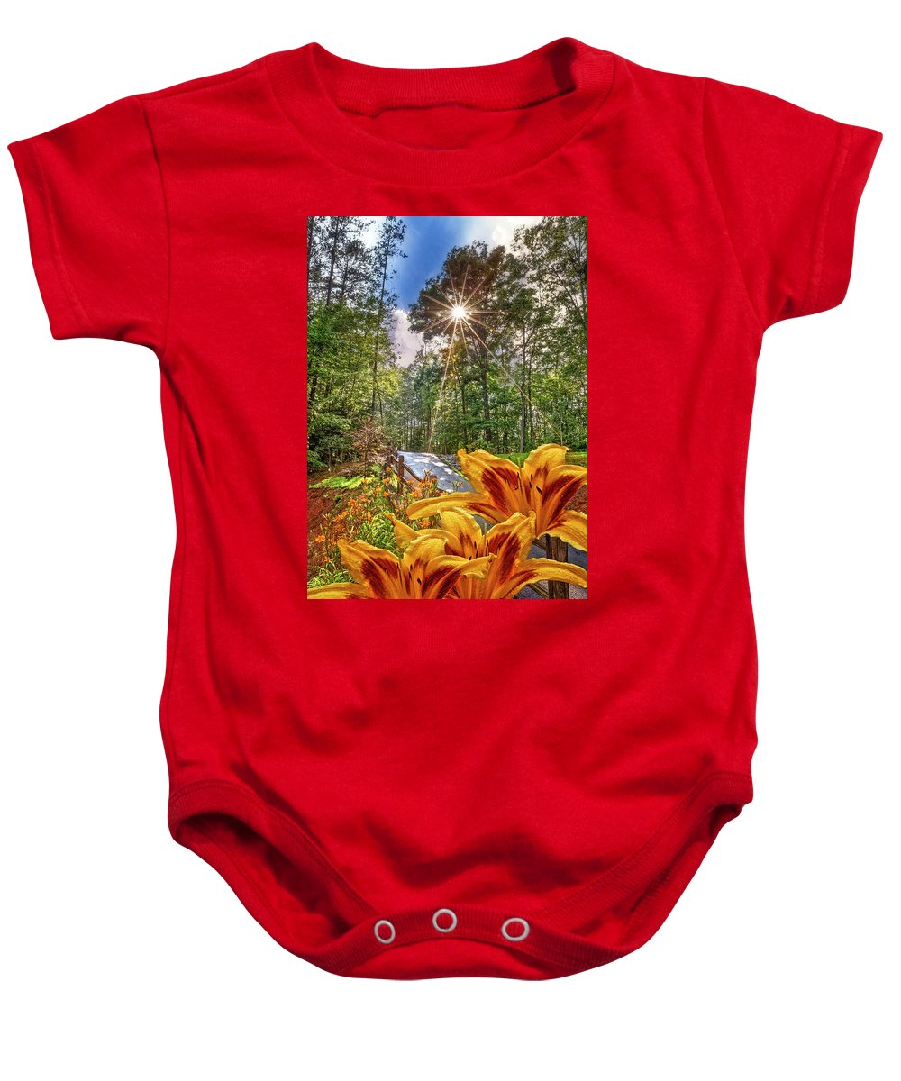 Appalachia Baby Onesie featuring the photograph Lily Trail by Debra and Dave Vanderlaan