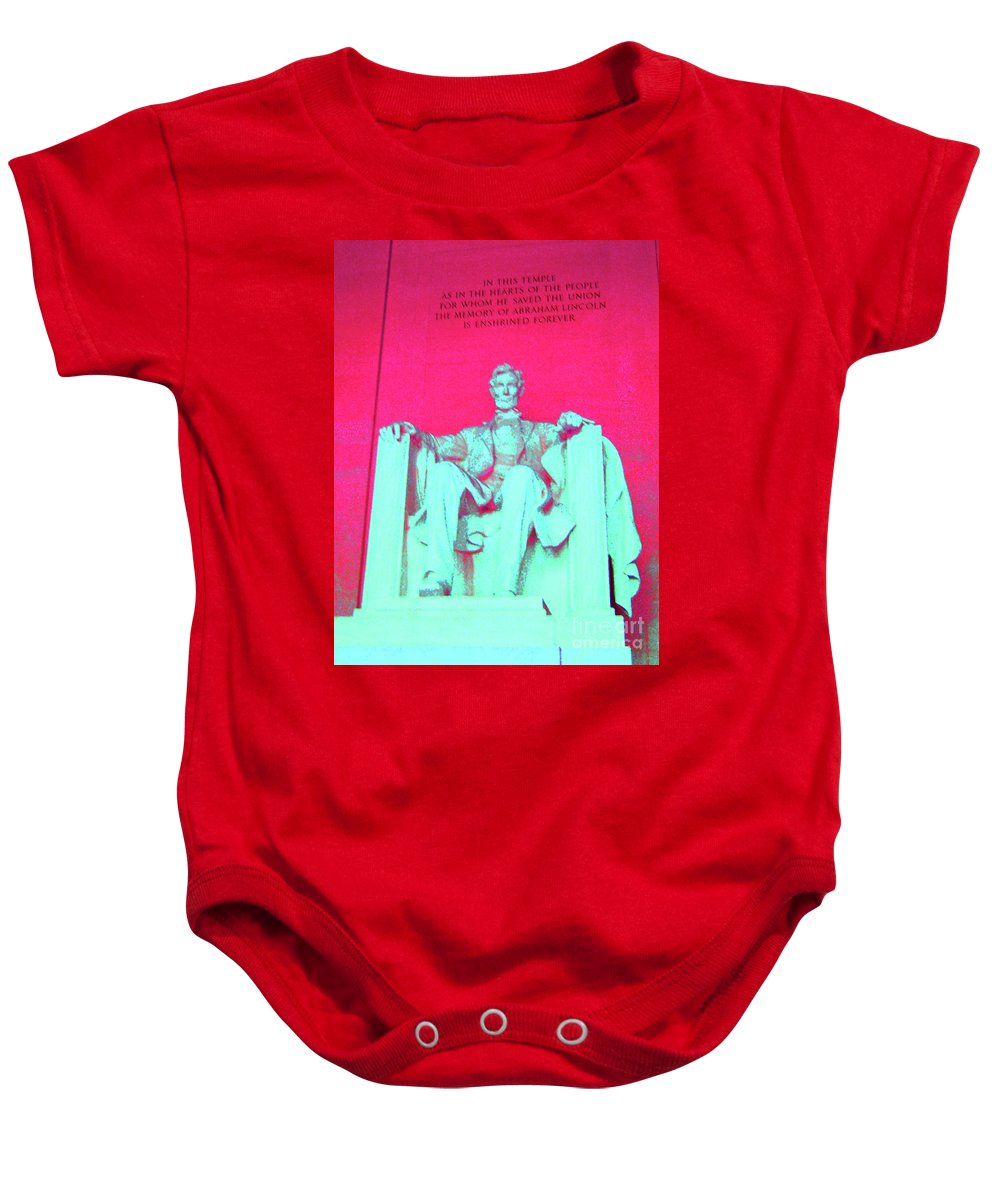 Lincoln Baby Onesie featuring the photograph Lincoln In Red by Jost Houk