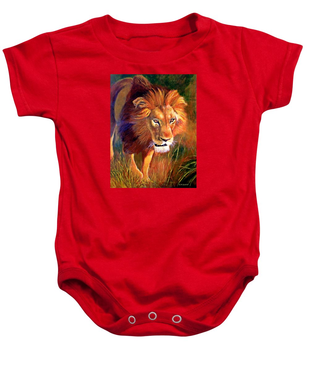 Lion Baby Onesie featuring the painting Lion At Sunset by Michael Durst