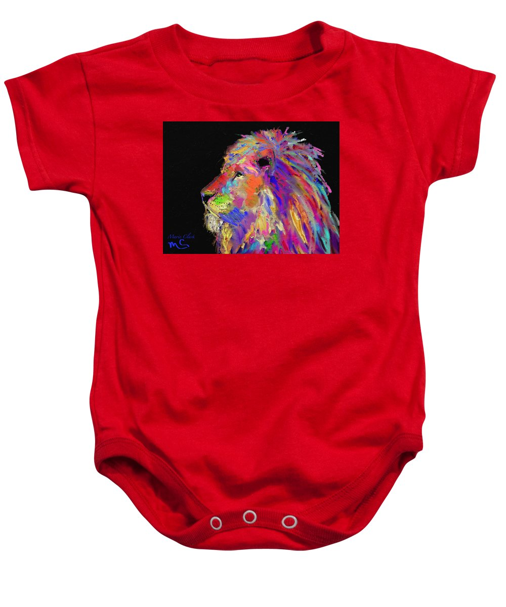Lion Baby Onesie featuring the painting Lion by Marie Clark