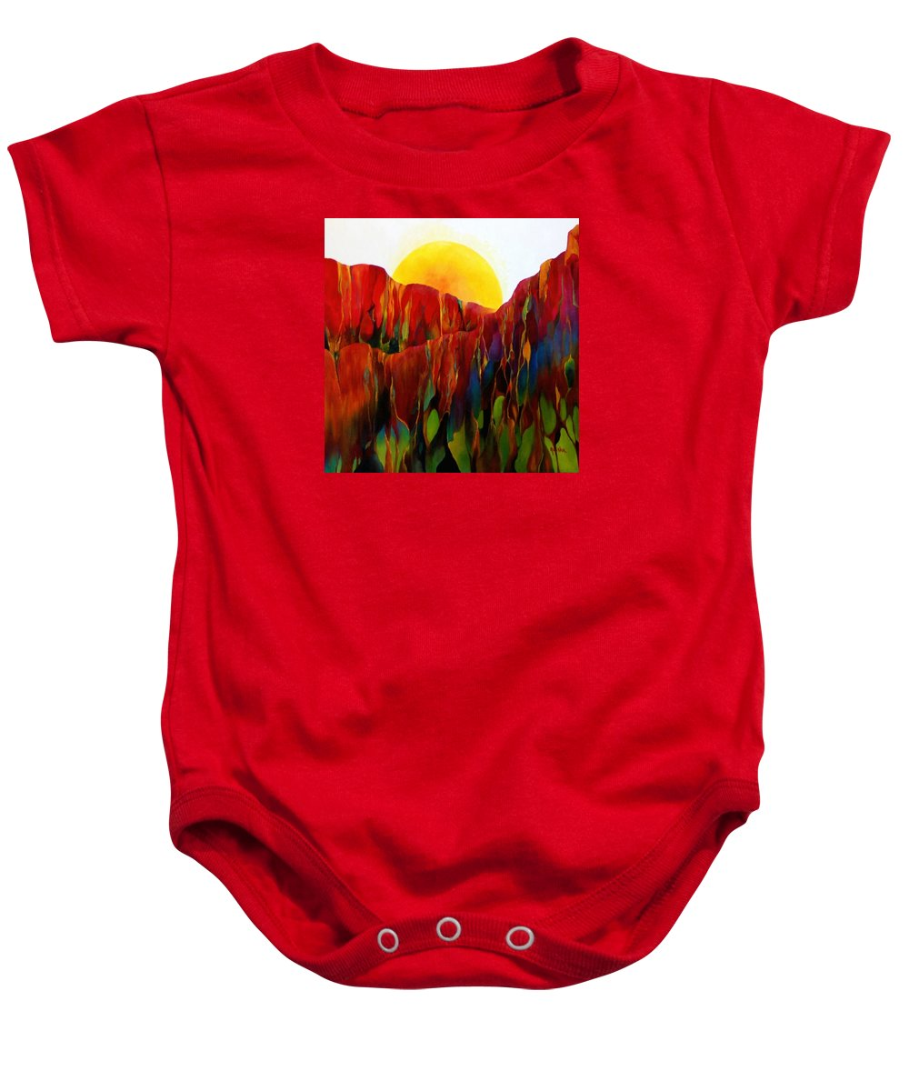 Oil Baby Onesie featuring the painting Living Earth by Peggy Guichu