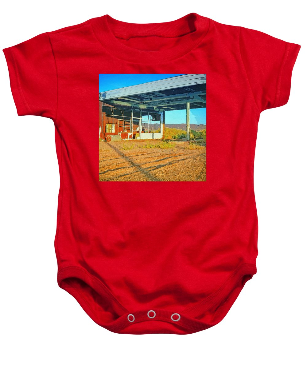 Abandoned Baby Onesie featuring the painting Lloyd Ain't Here by Dominic Piperata