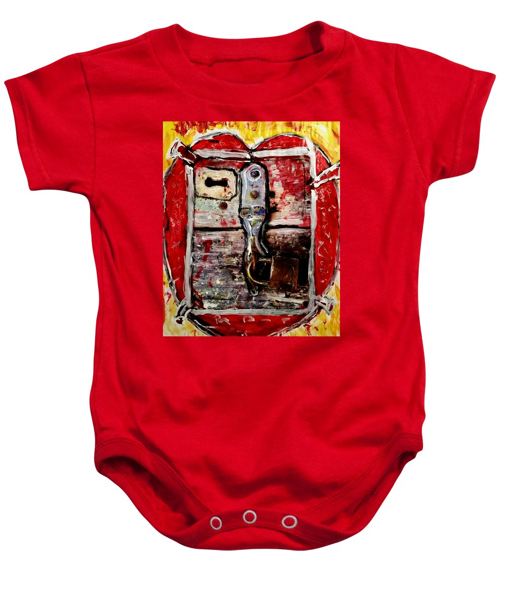 Locked Heart Baby Onesie featuring the painting Locked Heart by Richard Barrenechea