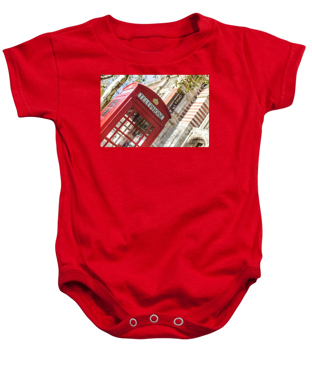 Big Ben Baby Onesie featuring the photograph London Telephone 3 by Alex Art and Photo