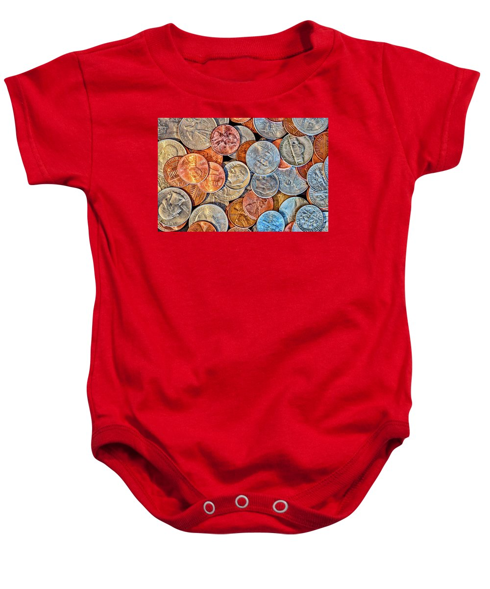 Coin Baby Onesie featuring the photograph Loose Change by Joe Geraci