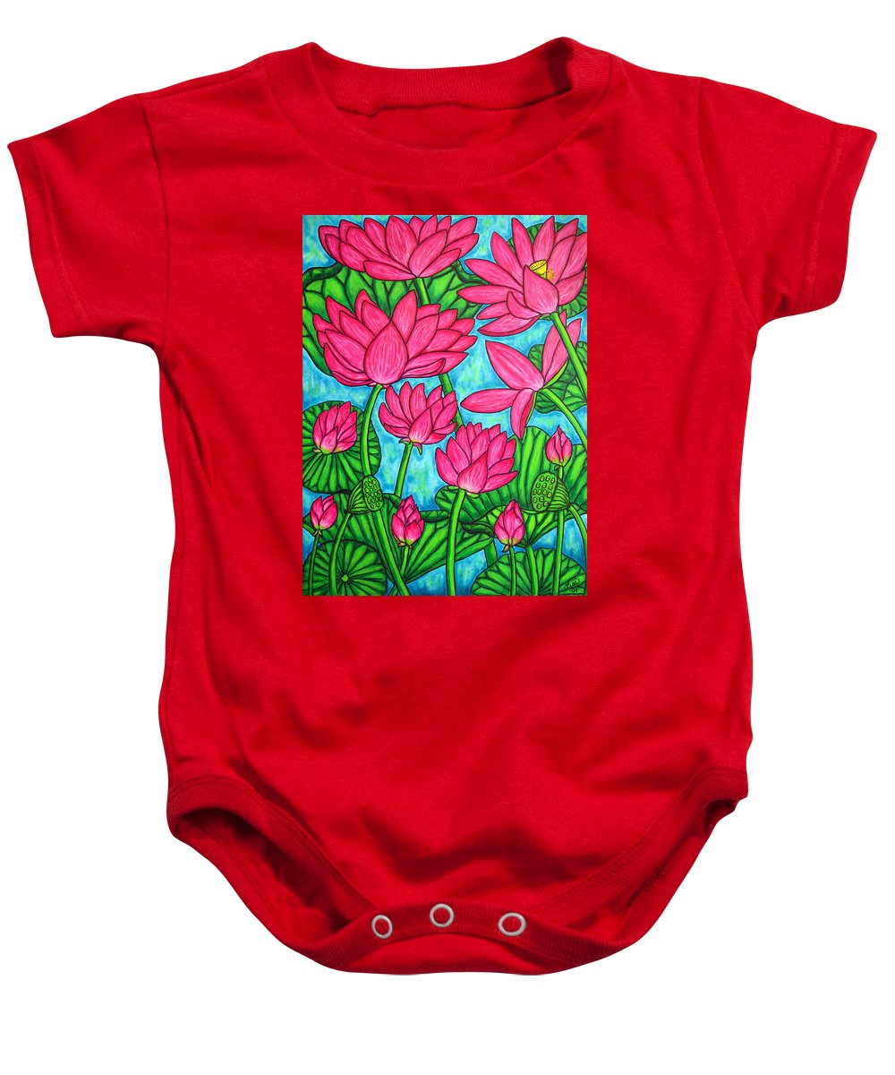Baby Onesie featuring the painting Lotus Bliss by Lisa Lorenz