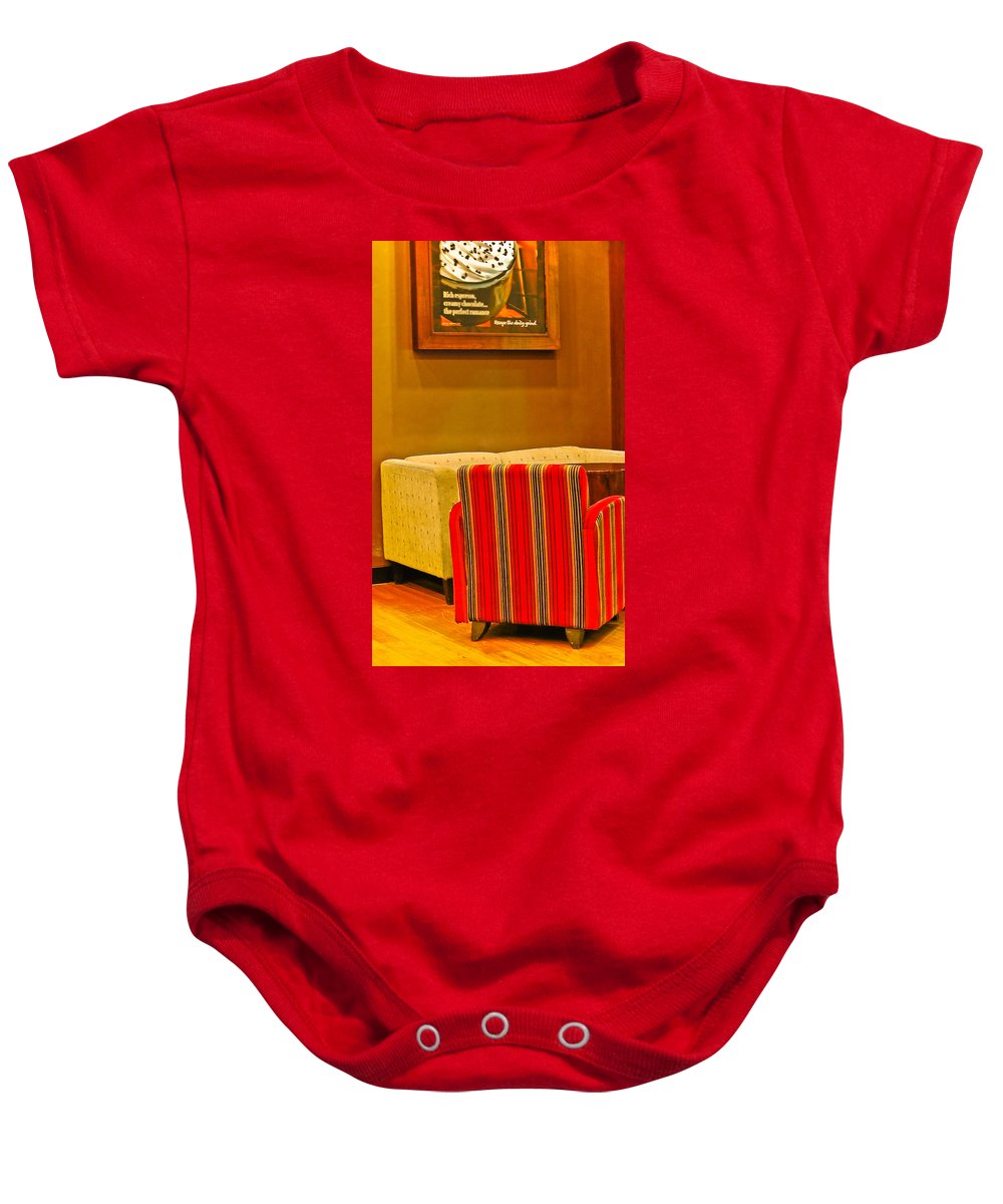 Baby Onesie featuring the photograph Lounge by Charuhas Images