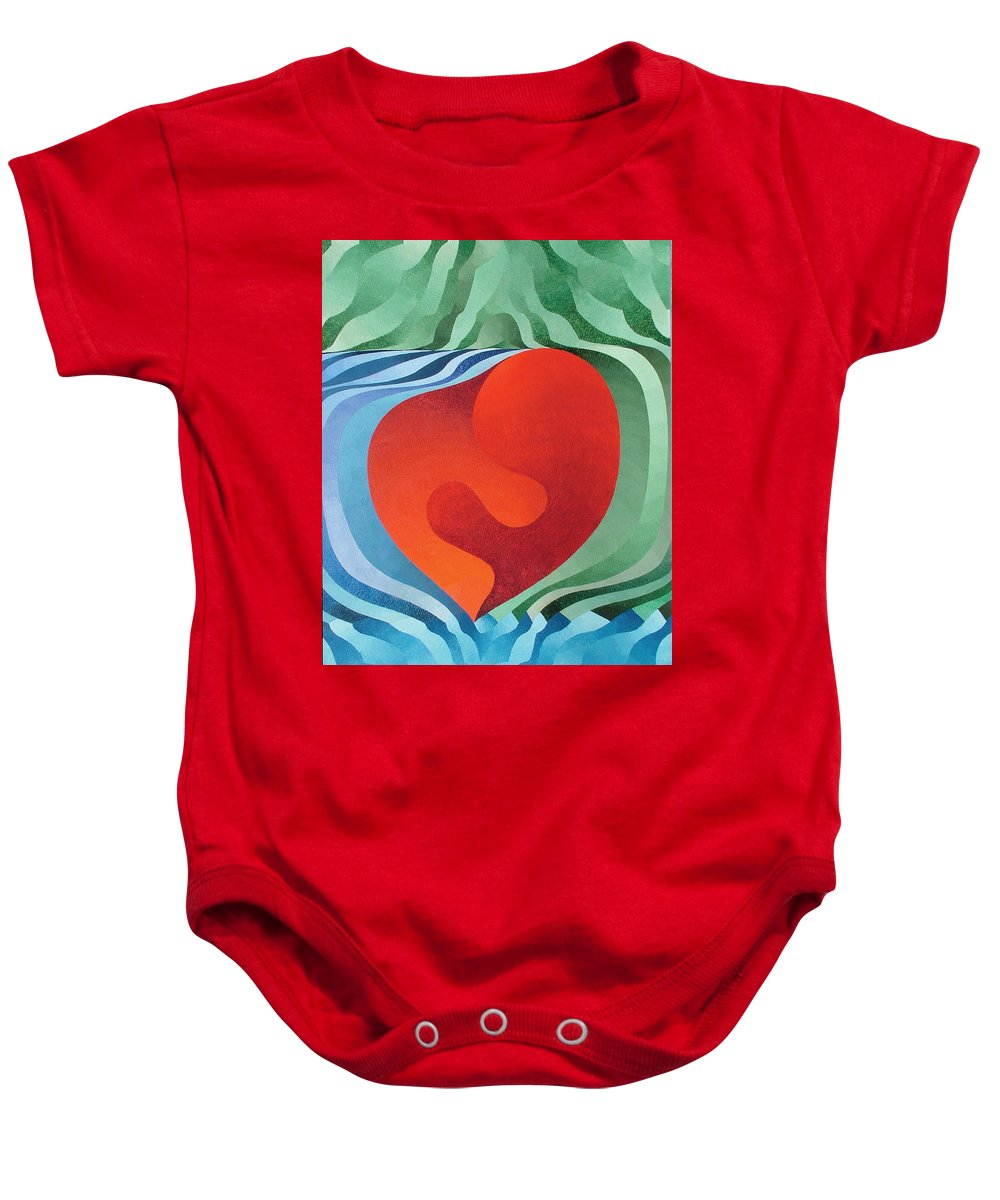 Oil Baby Onesie featuring the painting Love by Peter Antos