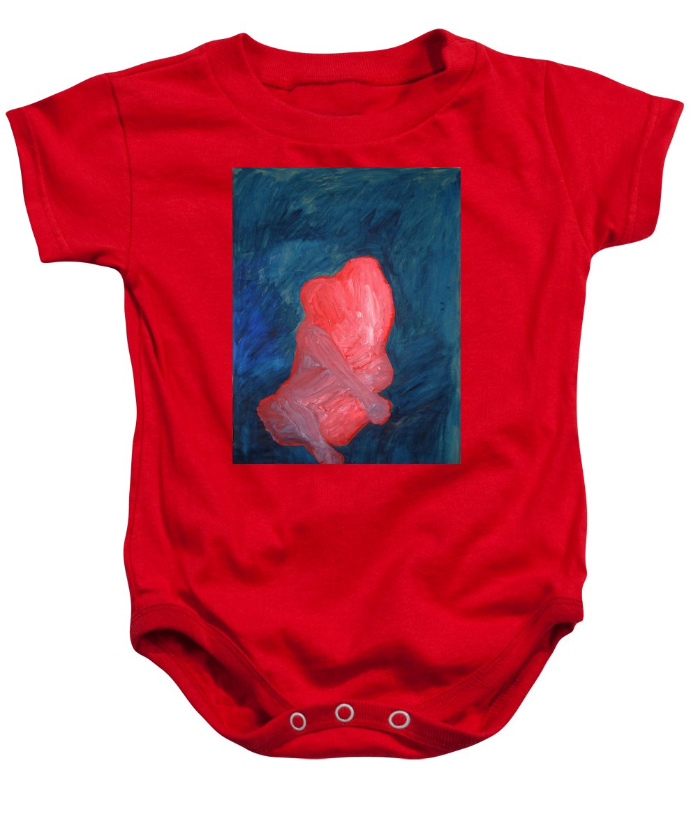 Red Baby Onesie featuring the painting Love by Teodora Bisenic