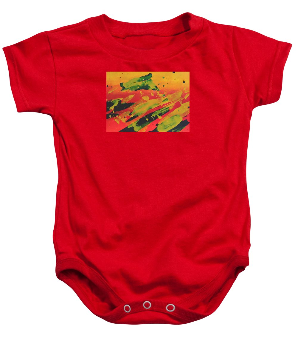 Abstract Baby Onesie featuring the painting Love Those Diagonals - Yellow 1 by Louise Adams