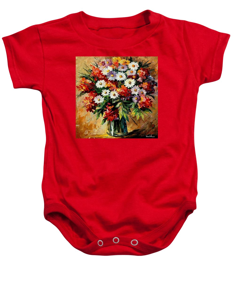 Still Life Baby Onesie featuring the painting Lovely Bouquet by Leonid Afremov