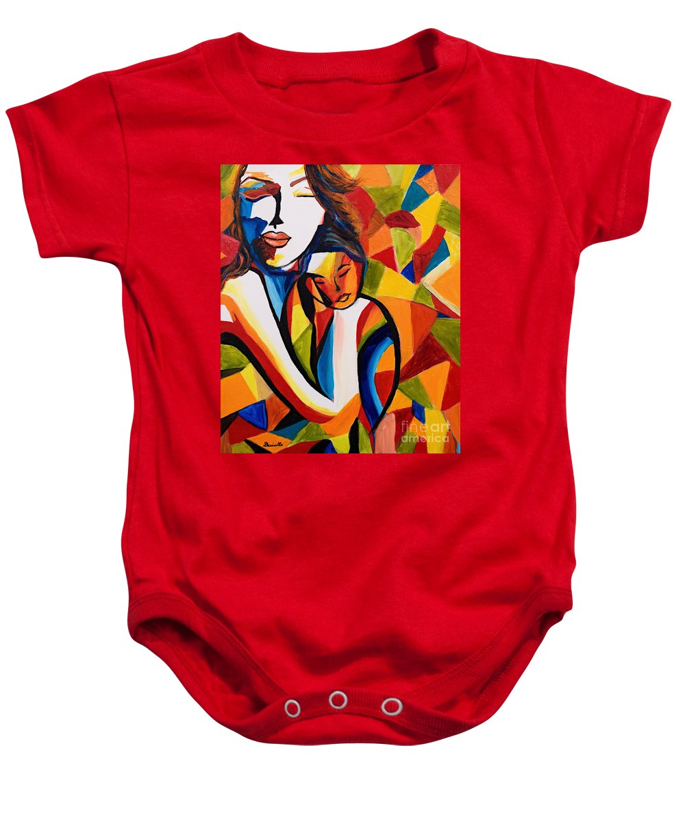 Popart Baby Onesie featuring the painting Loving Mom by Art by Danielle
