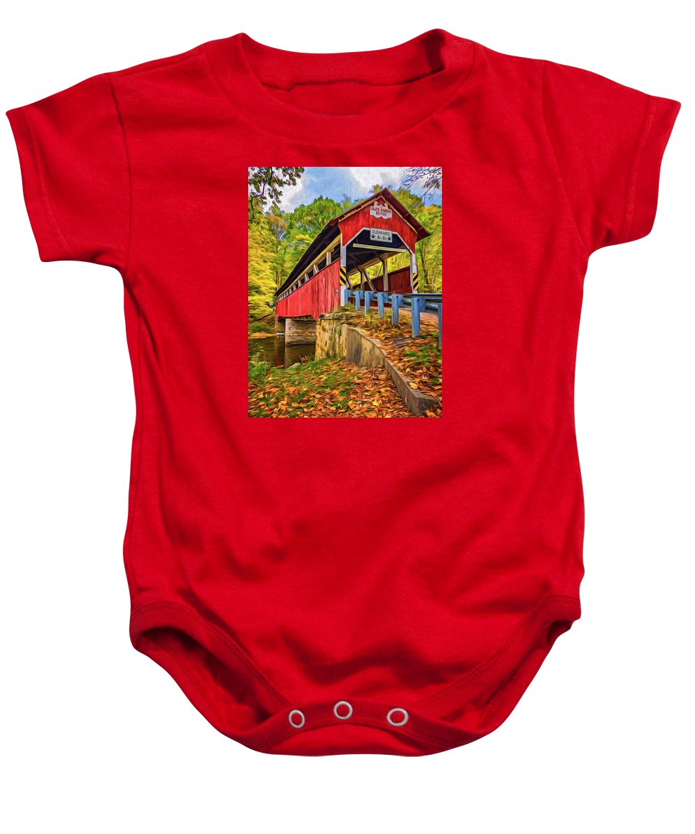 Pennsylvania Baby Onesie featuring the photograph Lower Humbert Covered Bridge 2 - Paint by Steve Harrington