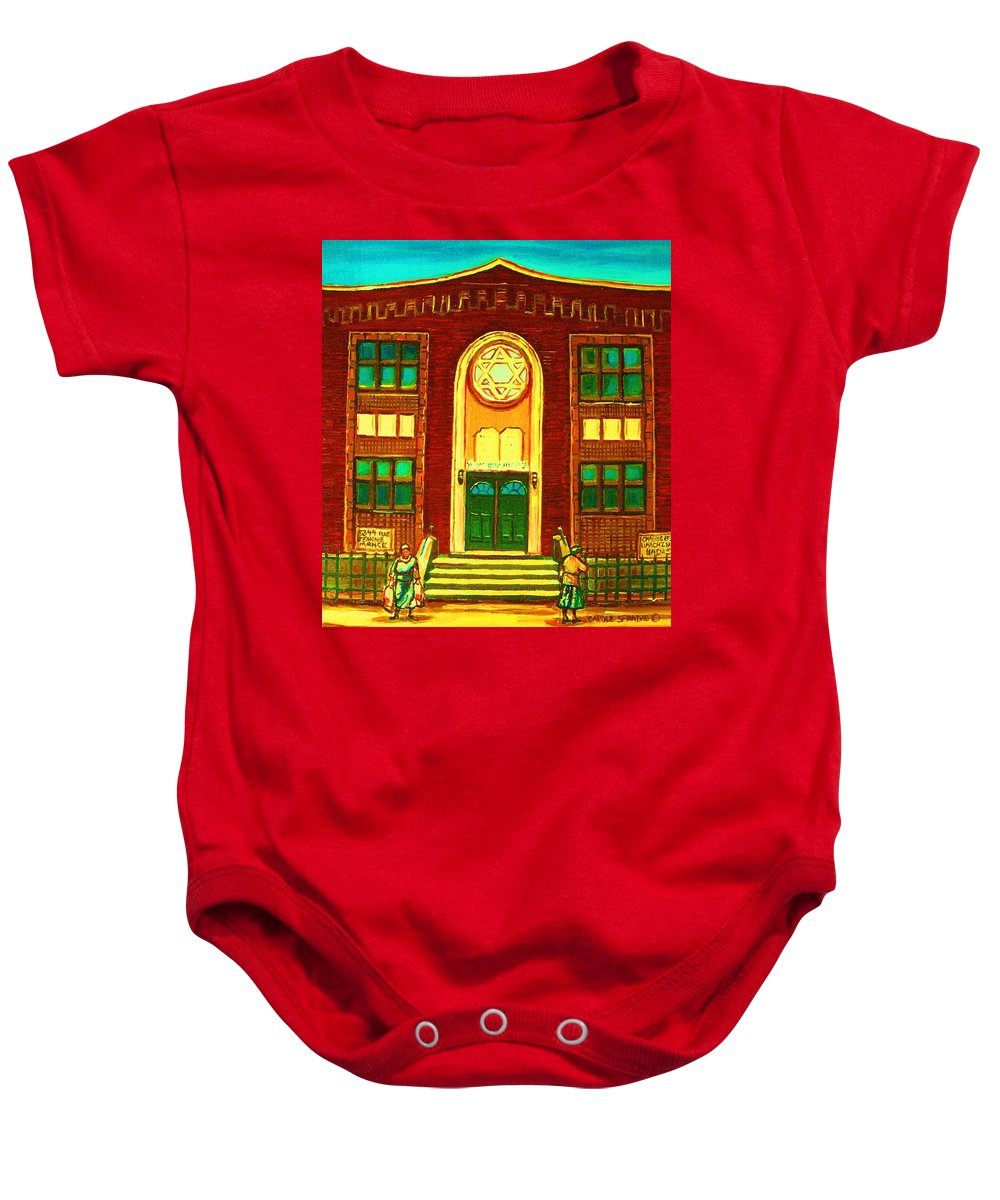 Judaica Baby Onesie featuring the painting Lubavitch Synagogue by Carole Spandau