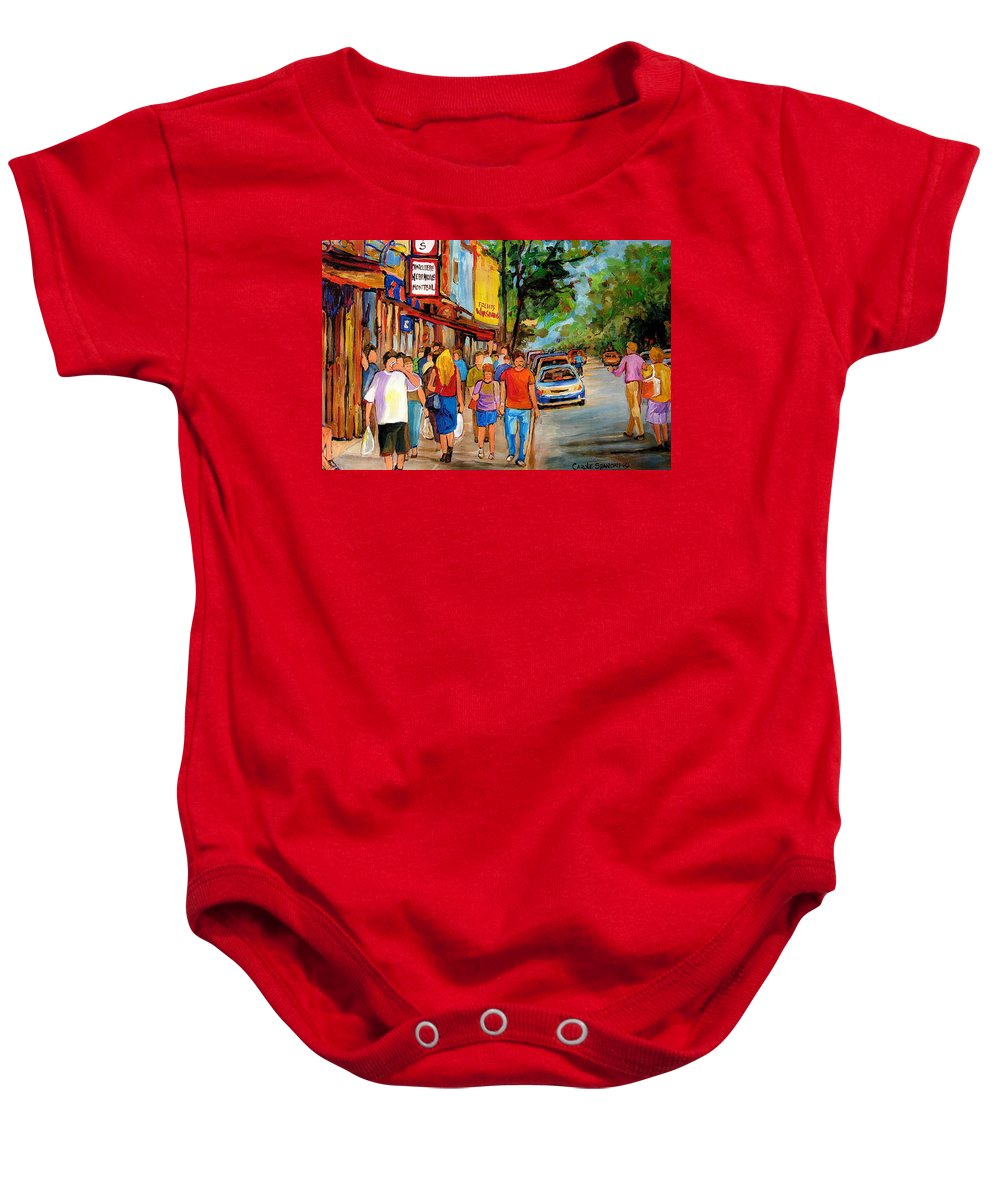 Montreal Streetscenes Baby Onesie featuring the painting Lunchtime On Mainstreet by Carole Spandau