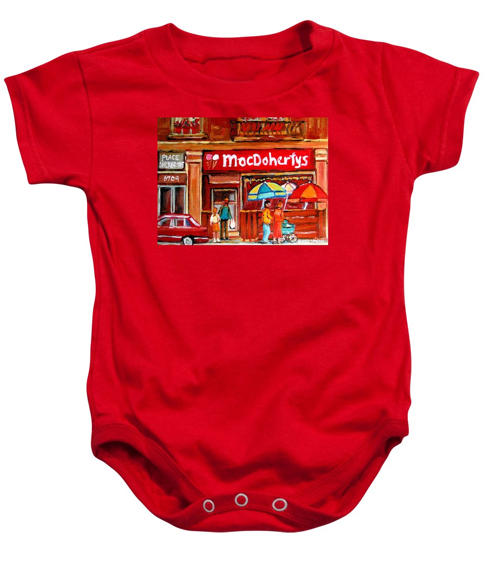 Macdohertys Baby Onesie featuring the painting Macdohertys Icecream Parlor by Carole Spandau