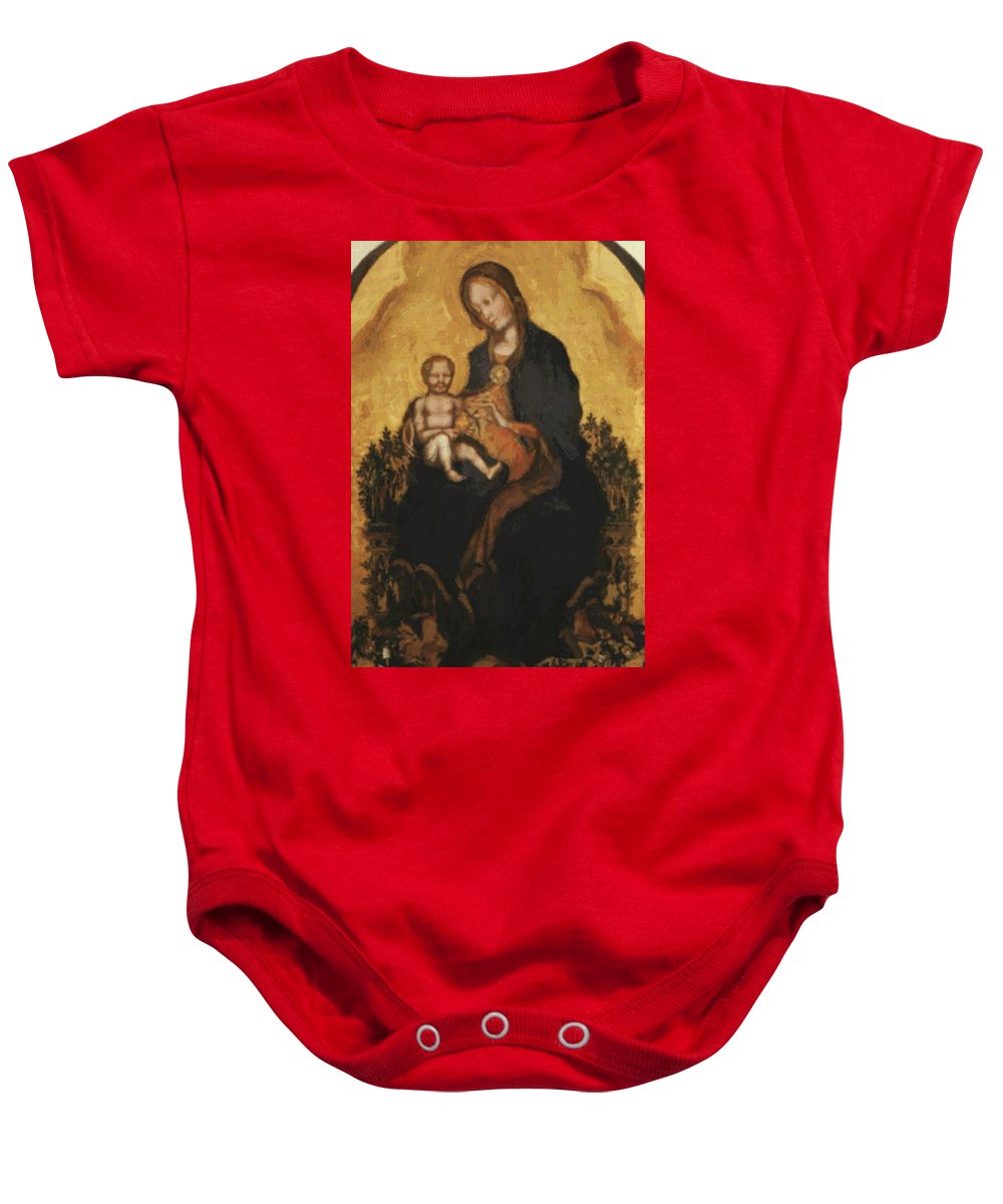 Madonna Baby Onesie featuring the painting Madonna With Angels 1410 by Fabriano Gentile da