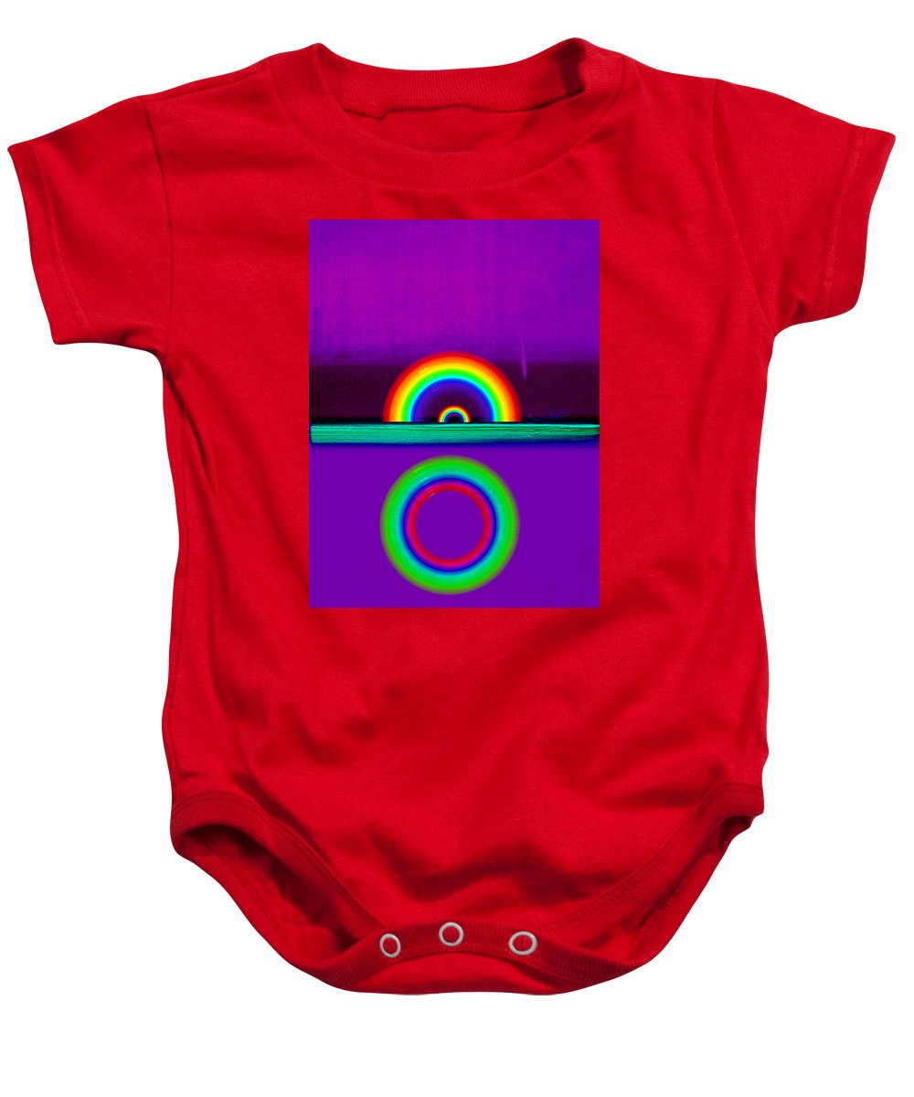 Rainbow Baby Onesie featuring the painting Magenta Sunset by Charles Stuart