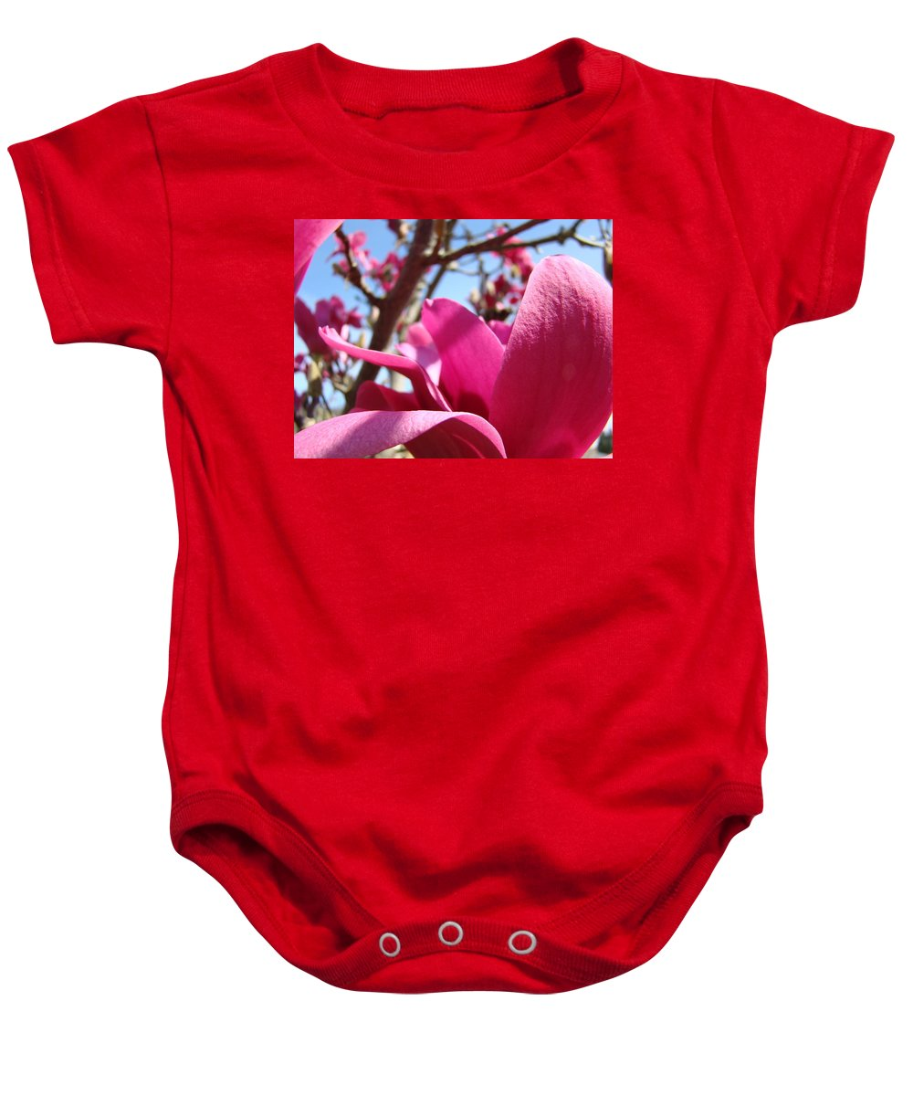 Magnolia Baby Onesie featuring the photograph Magnolia Tree Pink Magnoli Flowers Artwork Spring by Baslee Troutman