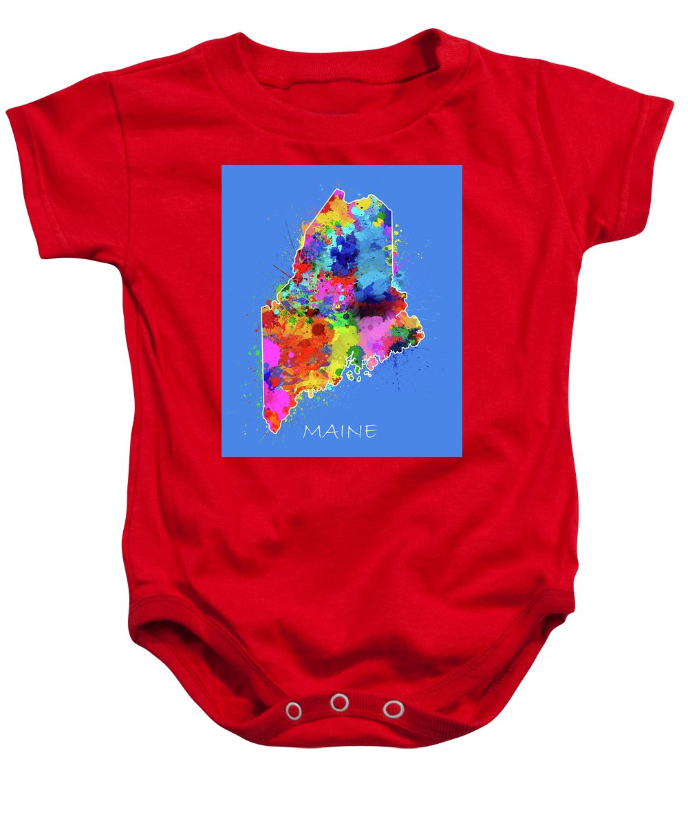 Maine Baby Onesie featuring the digital art Maine Map Color Splatter 3 by Bekim Art