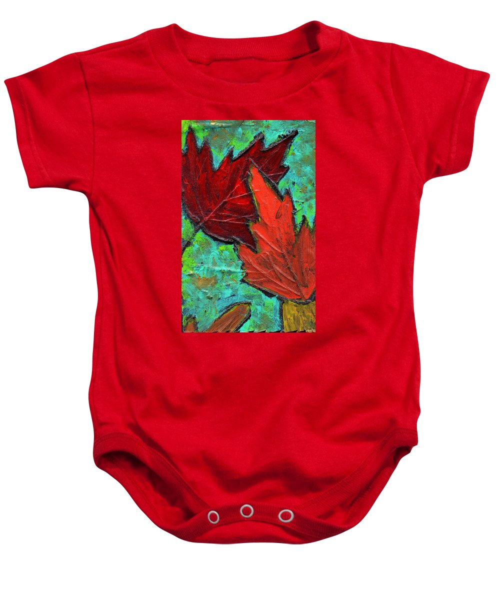 Maple Baby Onesie featuring the painting Maple Leaves by Wayne Potrafka