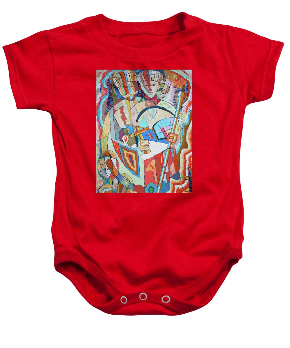 Johnpowellpaintings Baby Onesie featuring the painting Marcus Garvey And Elders by John Powell