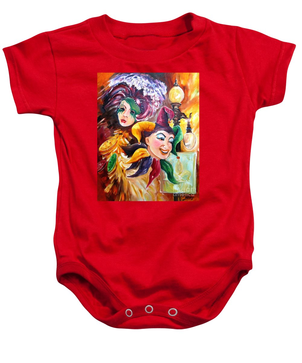 New Orleans Baby Onesie featuring the painting Mardi Gras Images by Diane Millsap