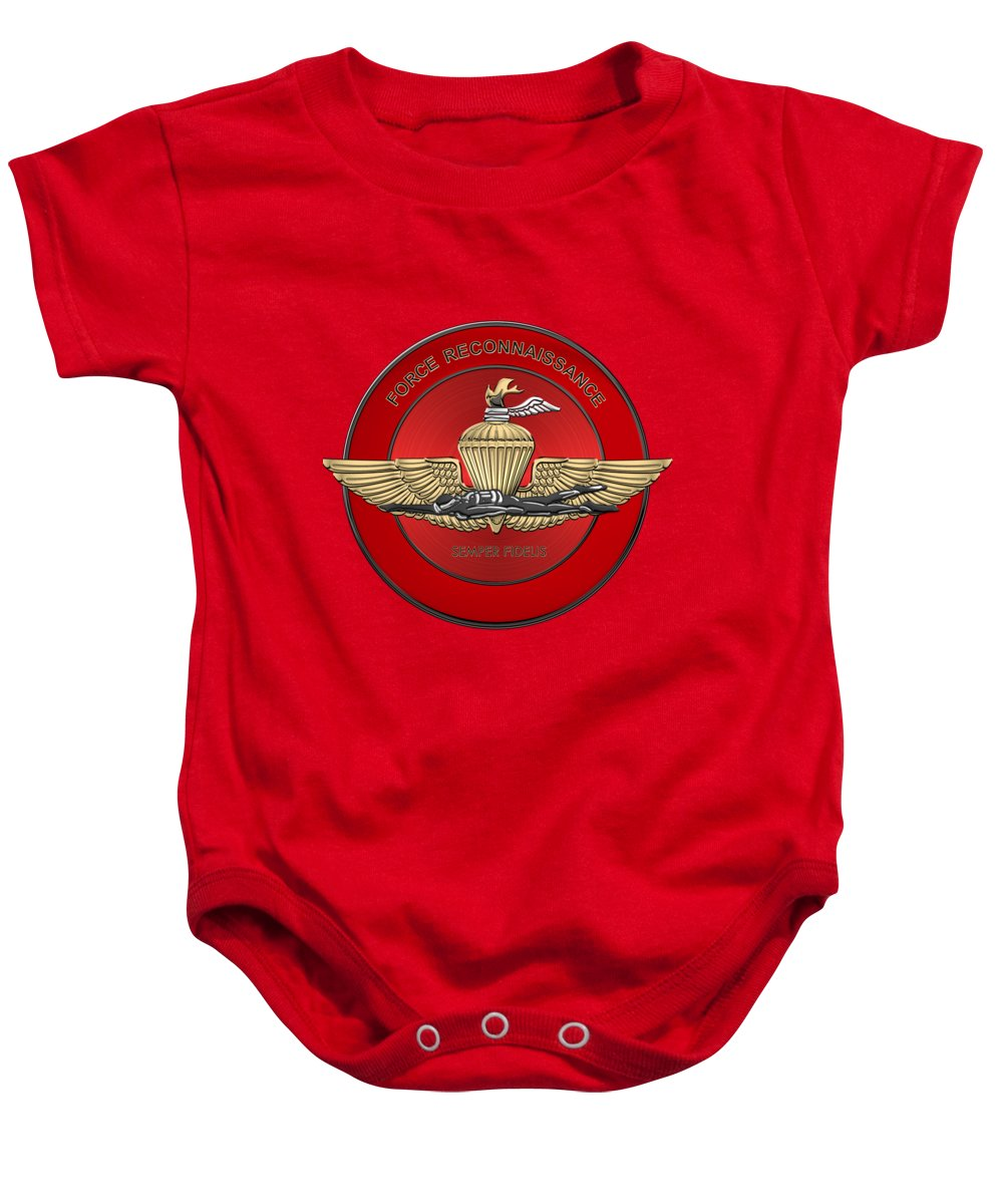 'military Insignia & Heraldry' Collection By Serge Averbukh Baby Onesie featuring the digital art Marine Force Reconnaissance - U S M C  F O R E C O N Insignia Over Red Velvet by Serge Averbukh
