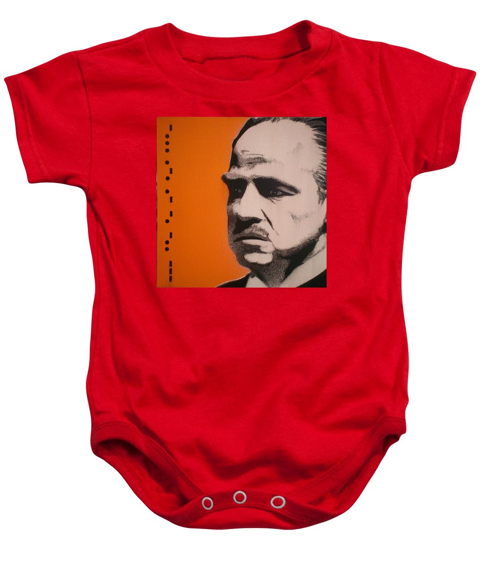 The Godfather Baby Onesie featuring the painting Marlon Brando by Gary Hogben