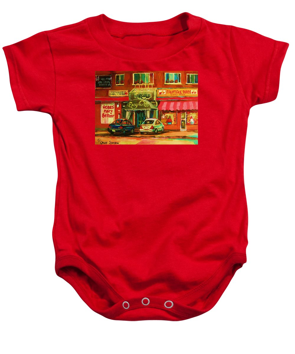 Mary Seltzer Dress Shop Baby Onesie featuring the painting Mary Seltzer Dress Shop by Carole Spandau