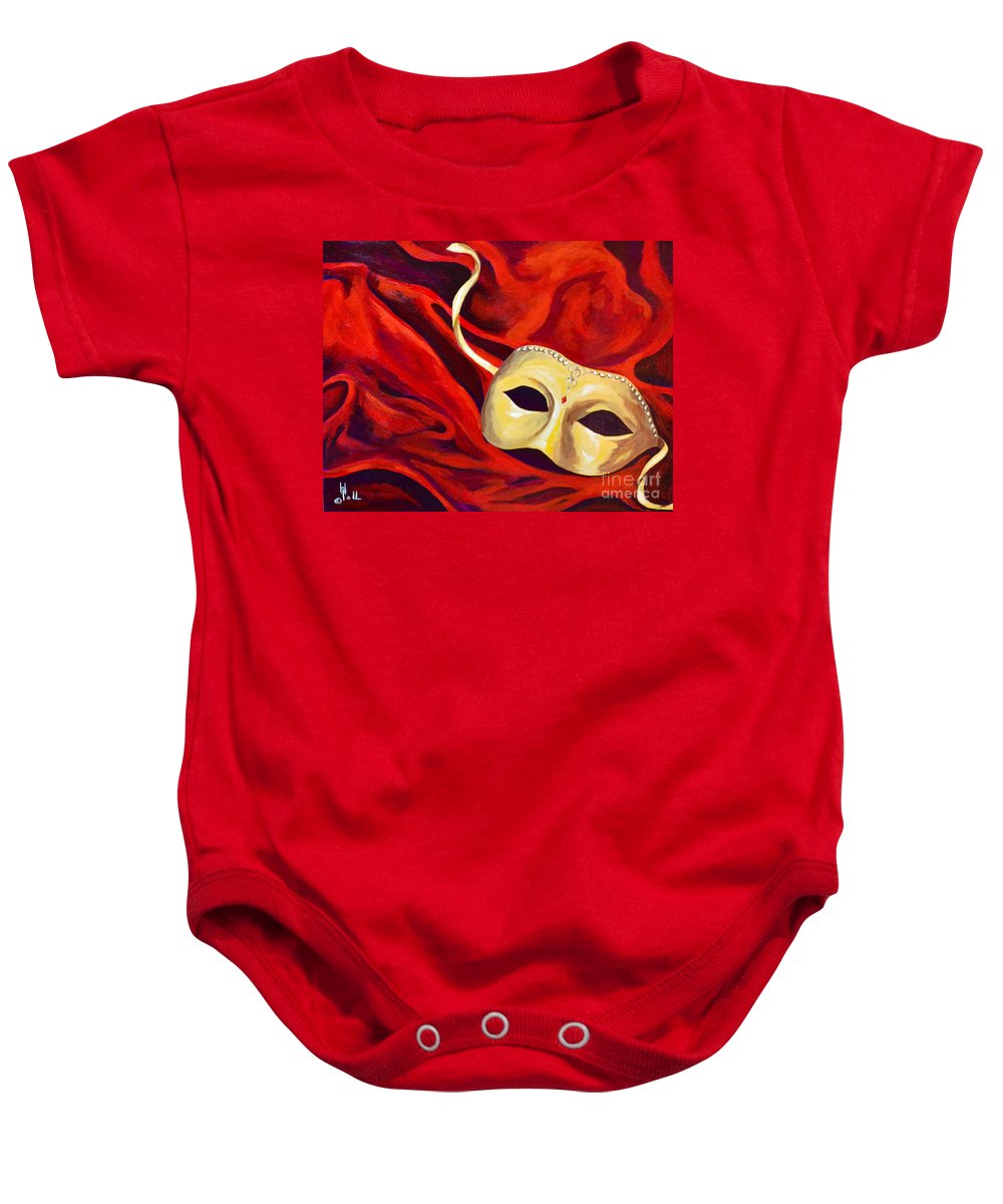 Masquerade Red Mask Warm Colors Baby Onesie featuring the painting Masquerade 2 by Herschel Fall