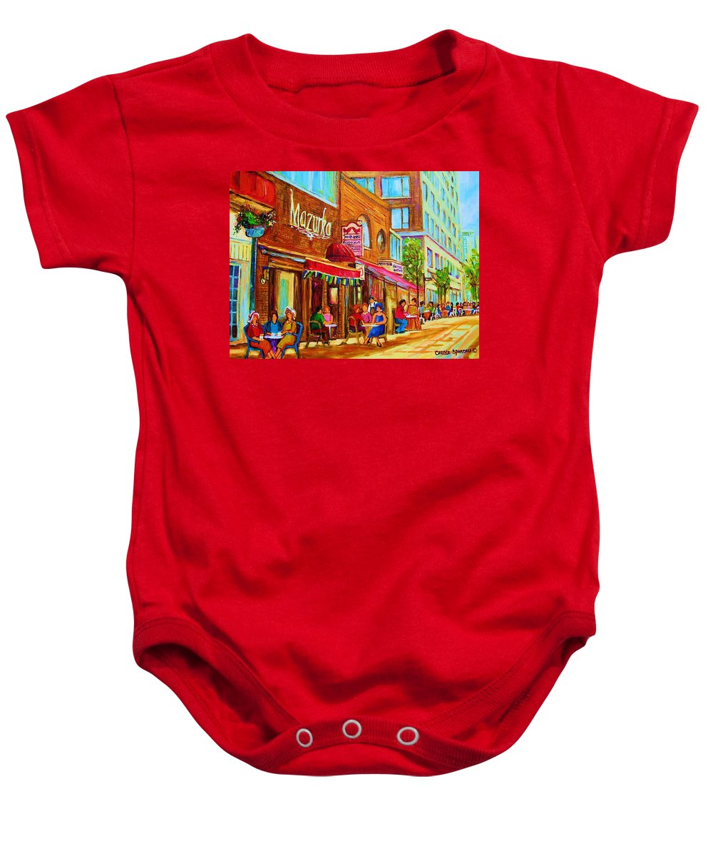 Montreal Streetscene Baby Onesie featuring the painting Mazurka Cafe by Carole Spandau