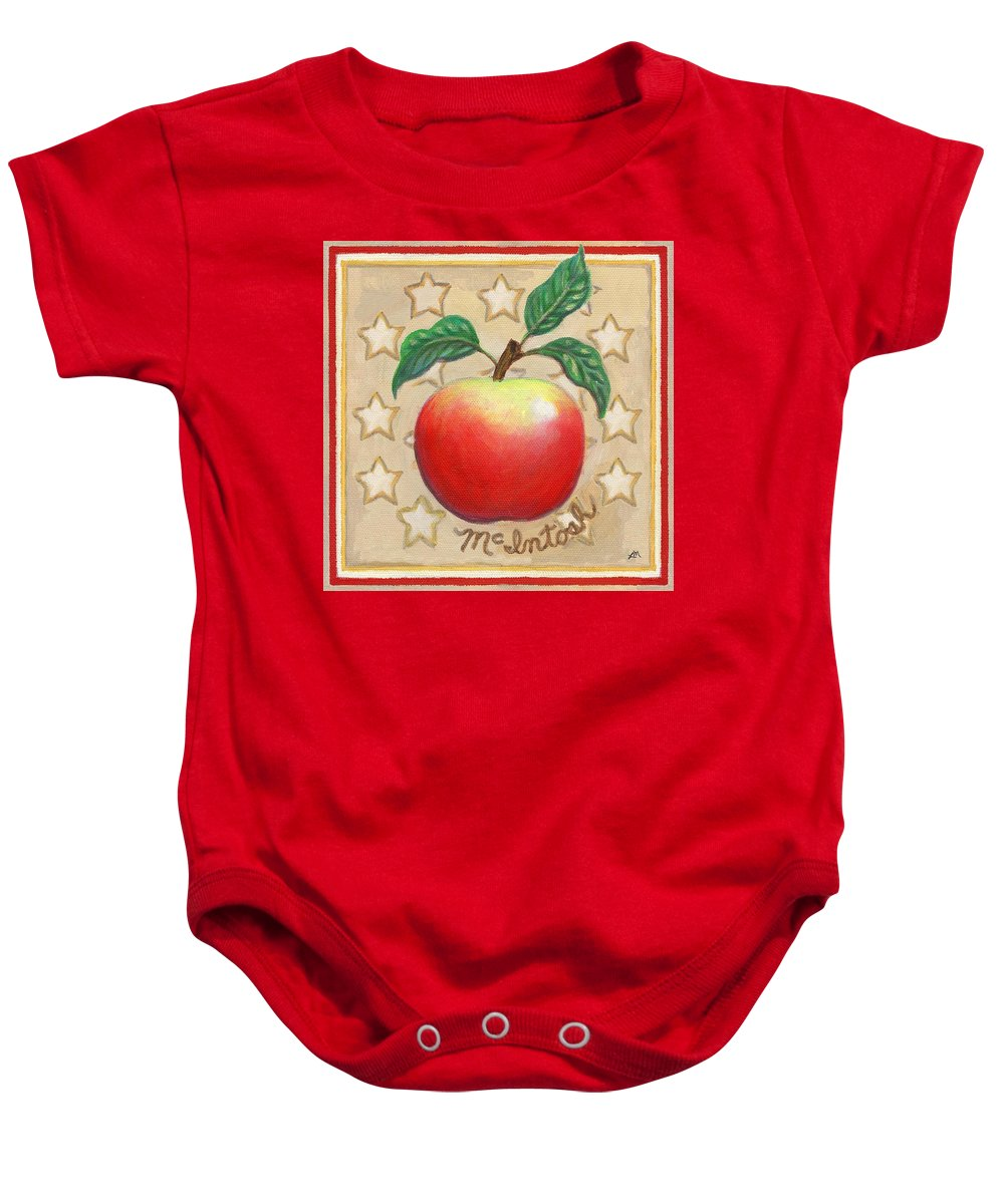 Apple Baby Onesie featuring the painting Mcintosh Apple Two by Linda Mears