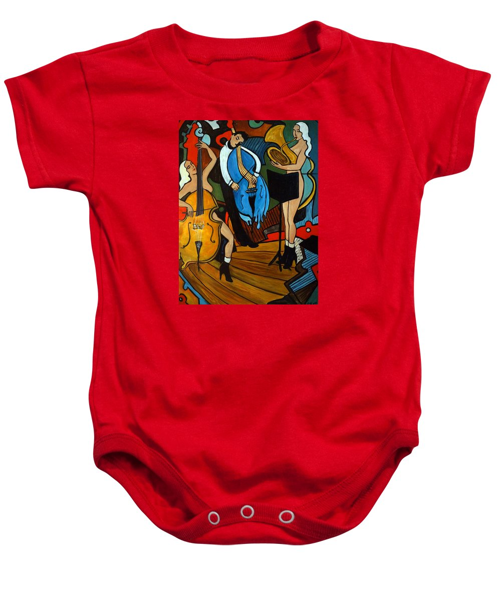 Musician Abstract Baby Onesie featuring the painting Melting Jazz by Valerie Vescovi