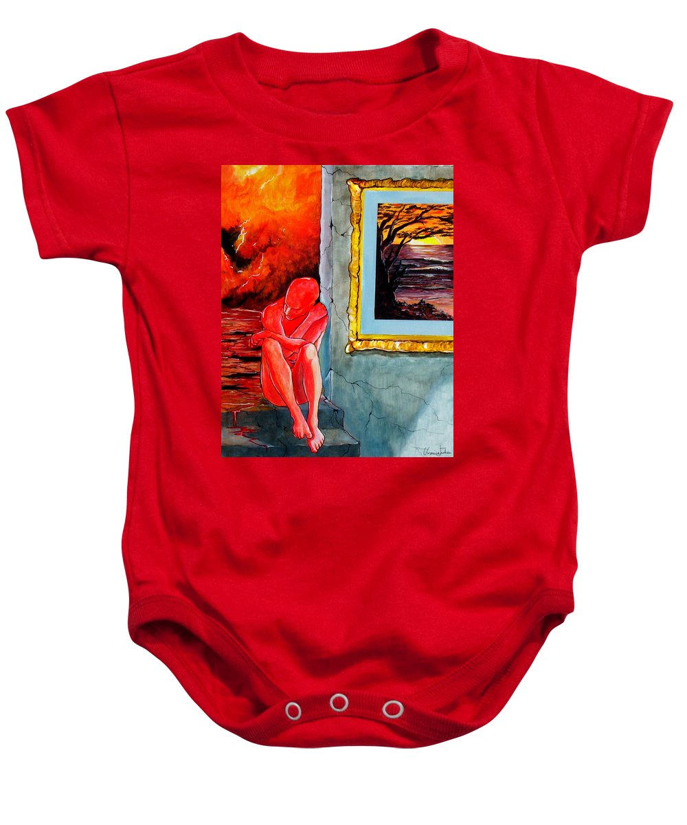 War Sunset Bombs Explosion Wait Loneliness Frustration Baby Onesie featuring the painting Memoirs Of A Bloody Sunset by Veronica Jackson