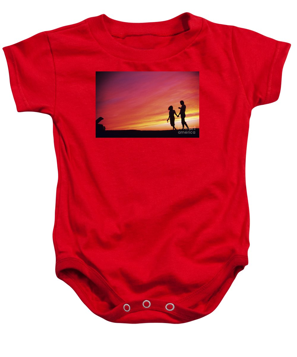 Beautiful Baby Onesie featuring the photograph Mexico Couple Walking by Larry Dale Gordon - Printscapes