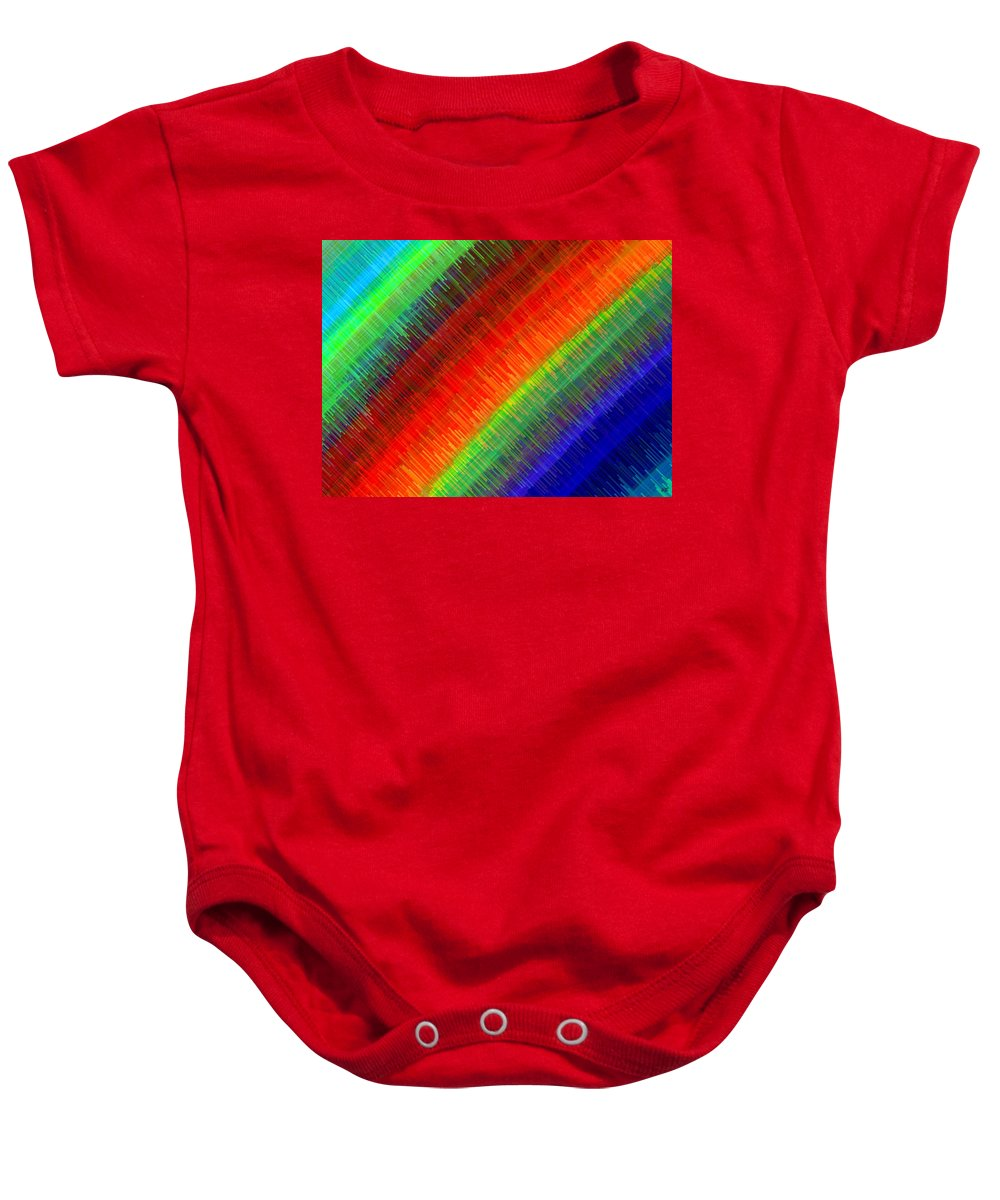 Micro Linear Baby Onesie featuring the digital art Micro Linear Rainbow by Will Borden