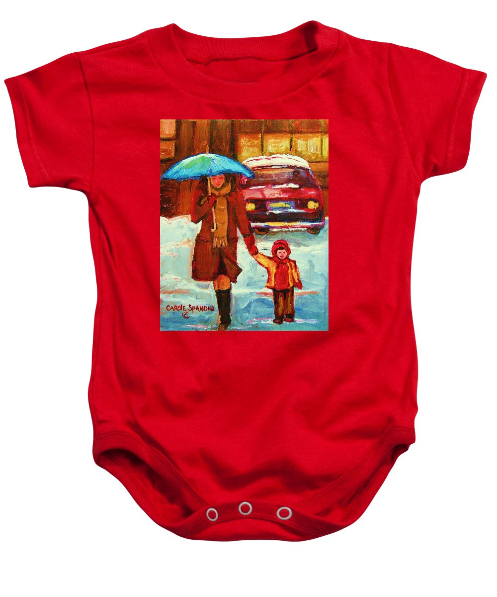 Montreal Baby Onesie featuring the painting Moms Blue Umbrella by Carole Spandau