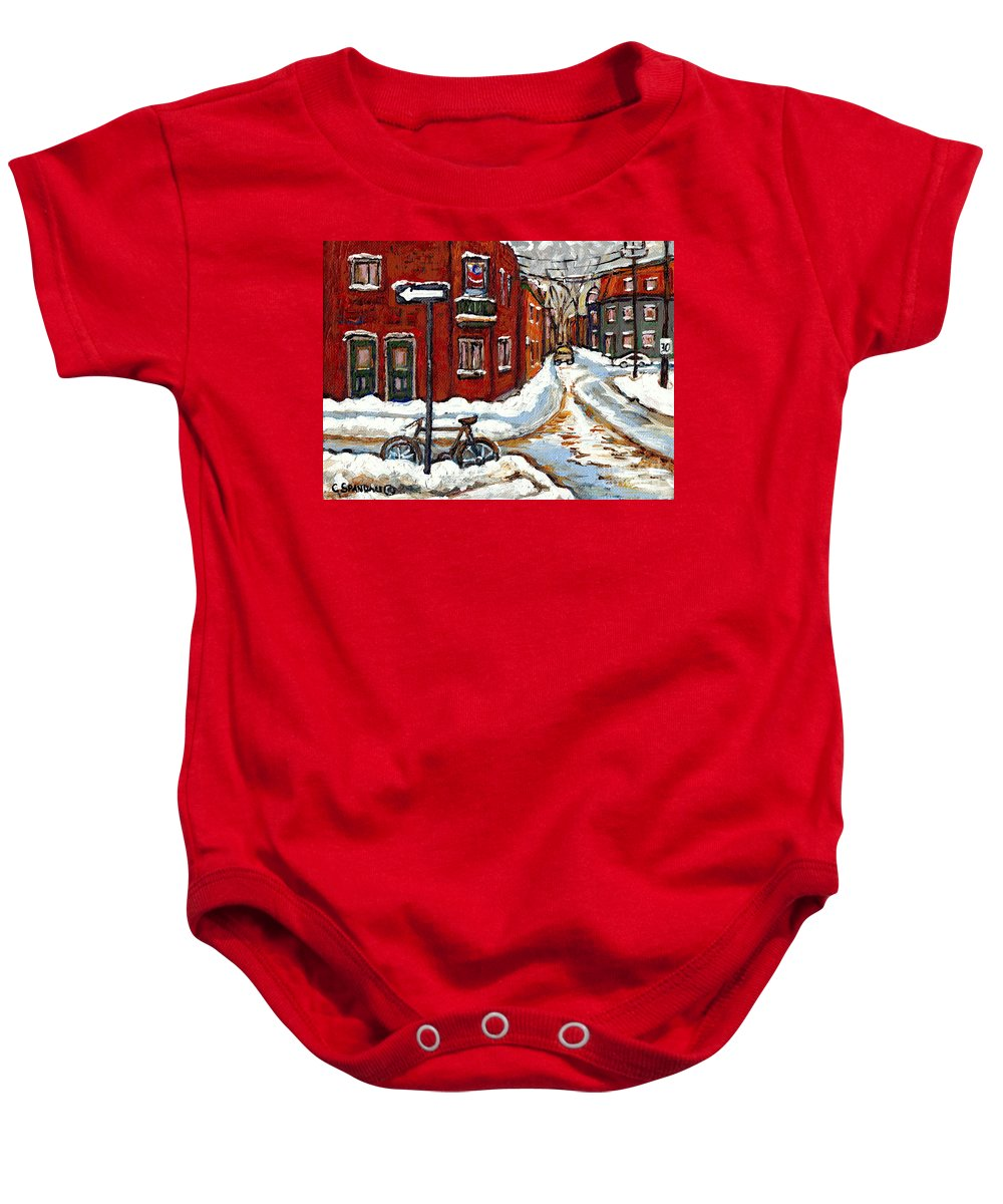 Montreal In Winter Baby Onesie featuring the painting Montreal Street In Winter La Ville En Hiver Buy Montreal Paintings Petits Formats Peintures A Vendre by Carole Spandau